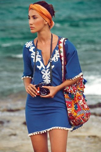 Chic Elegant Beach Outfit Swimwear Blue White Embroidered Beach Cover Up Retro Camera Tribal Floral Shoulder Bag Headband