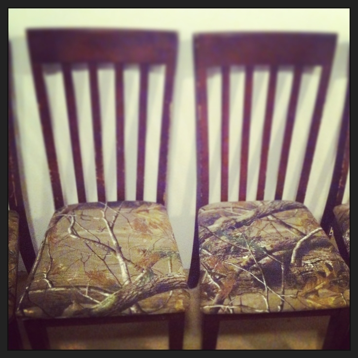 Reupholstered Kitchen Chairs With Camo Fabric