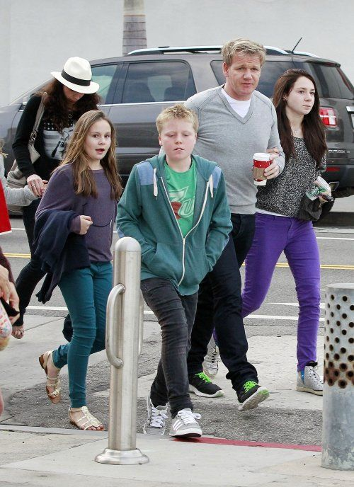 "Gordon Ramsay  Family: Mixin In Some Holiday Fun  ""Gordon Ramsay and his family spent time shopping and hanging out at an ice skating rink in Los Angeles, Calif. on Thursday (December 29). The celebrity chef kept his feet off skates while his wife Tana, and their kids Megan, 13, Matilda, 9, and 11-year-old twins Jack and Holly looked like they were enjoying themselves on the ice."""