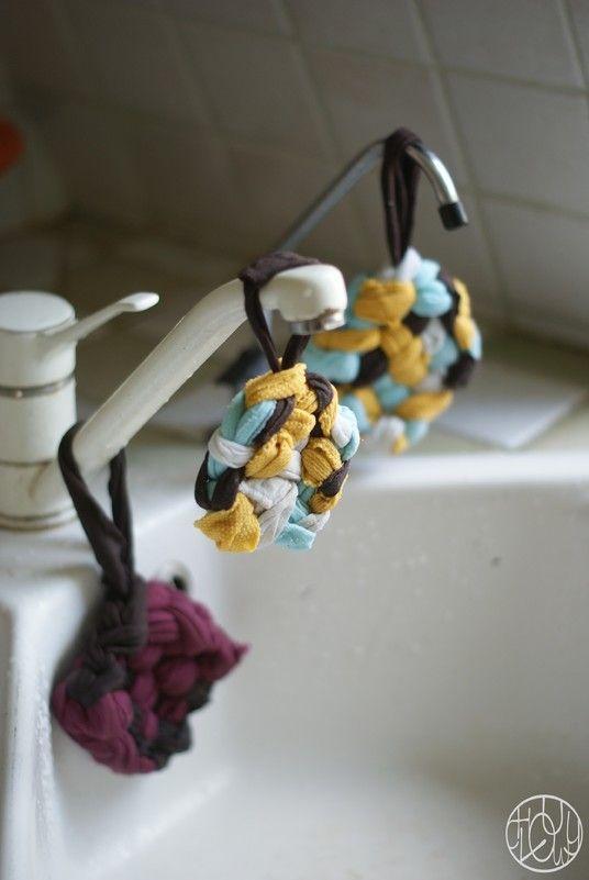 Les écolotrucs - N°5 - Fabriquer ses éponges (tawashi) (ou au tricot: laine 100% acrylique