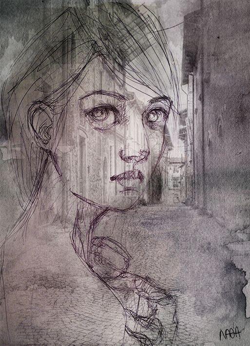 ghost woman - pen & digital graphic