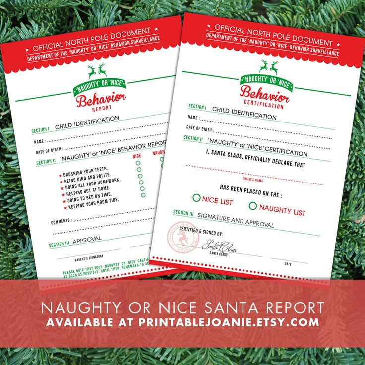 """You can easily print this 'Naughty' or 'Nice' Behavior Report and fill it with your kids! When your kids will receive their 'Naughty' or 'Nice' Certification, they will be so happy to let all their friends know that they have an """"Official North Pole Document"""" to prove that they are [hopefully!!] on Santa's """"Nice"""" list this year!  The fun thing about these printables is that you can save them on your computer and reuse them every year!"""