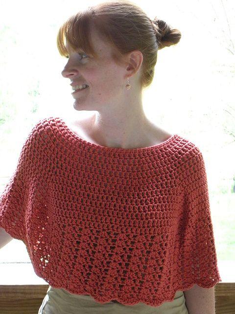 Ravelry: Crocheted Capelet: free pattern by Woolen Treasures (uses Aran weight yarn)
