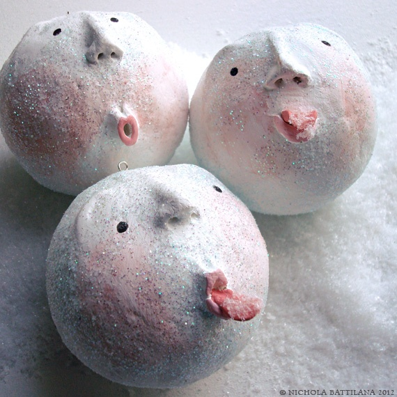 Pixie Hill: SNOWBALLS! ceramic or papier mache faces with whimsical figurative style art, doll sculpture