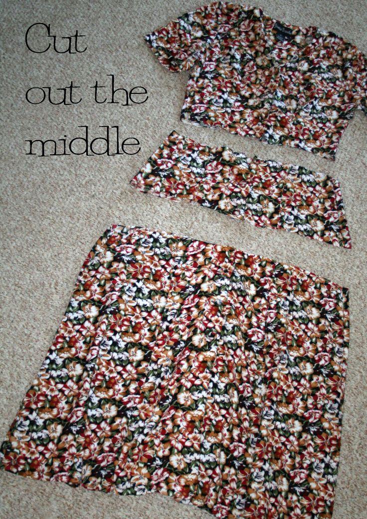 DIY dress refashion tutorial (shorten the dress by making a new gathered waistline, instead of re-hemming)
