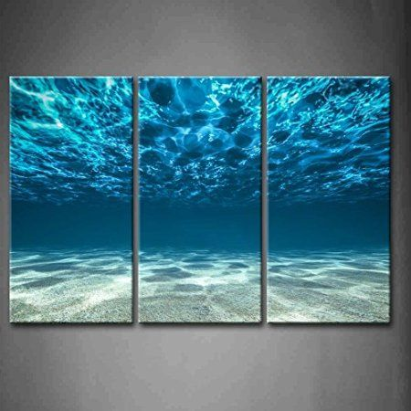 First Wall Art® - 3 Panel Wall Art Blue Ocean Bottom View Beneath Surface Painting The Picture Print On Canvas Seascape Pictures For Home Decor Decoration Gift piece (Stretched By Wooden Frame,Ready To Hang)