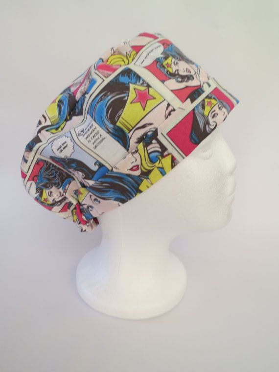 Scrub Hat Theatre Surgical Cap  'Wonder Woman' by SnazzyScrubHats