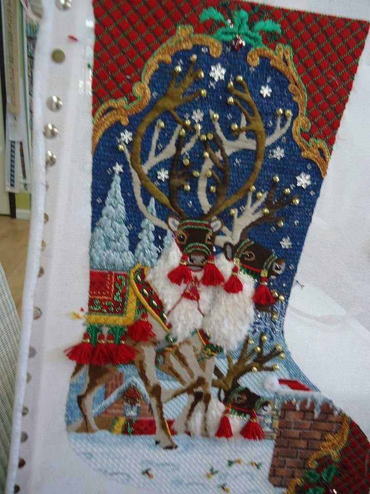 artist needlepoint stocking | beautiful needlepoint stocking reindeers