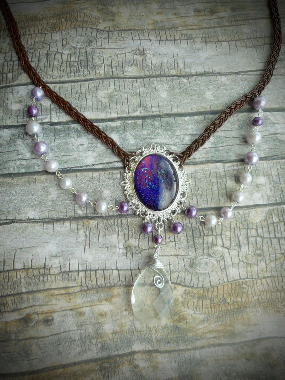 Victorian ladies necklace / purple cameo by JHFWBeadsAndFindings