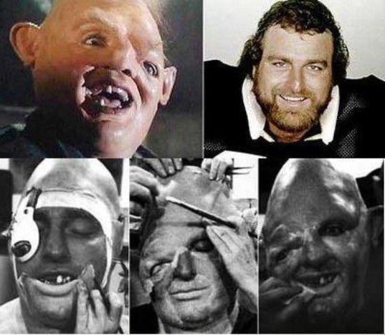 A behind the scenes picture of John Matuszak getting his make up done for his costume as Sloth from The Goonies.