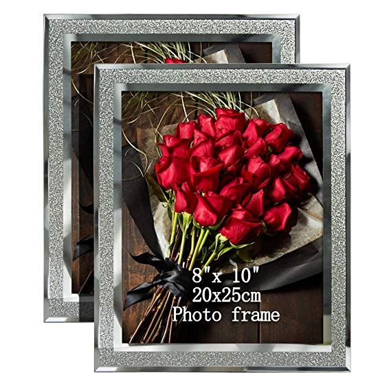 Amazon Com Artsay 8x10 Picture Frames Sparkle Glass Photo Frame Freestanding 8 X 10 Inch 2 Pack Home Glass Photo Frames Picture Frame Decor Glass Photo