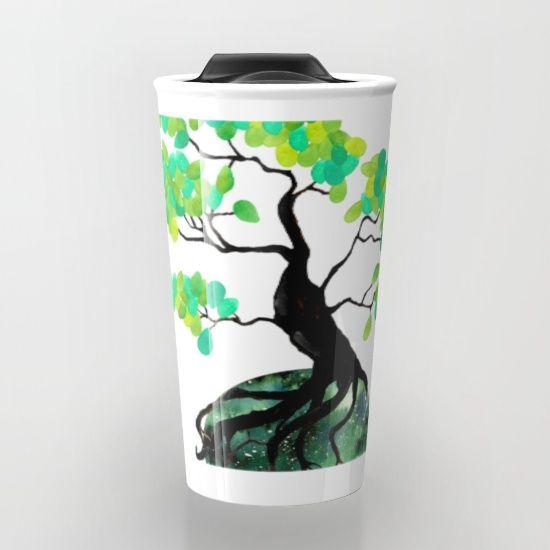 Organic Bonsai Travel Mug  #society6 @society6 #bonsai #tree #nature Watercolor and digital illustration. Bonsai with green accents. #organic #green #design #interiordesign #plants #tree #green #naturelover #coffeelovers #coffeemug #travel