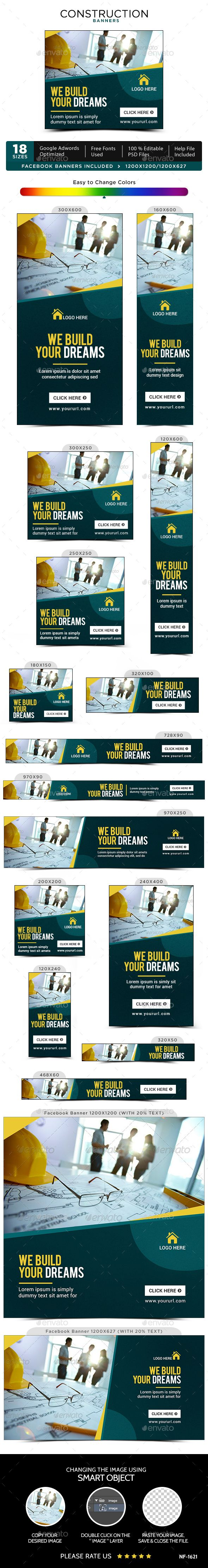 Construction Banner Template PSD #ads