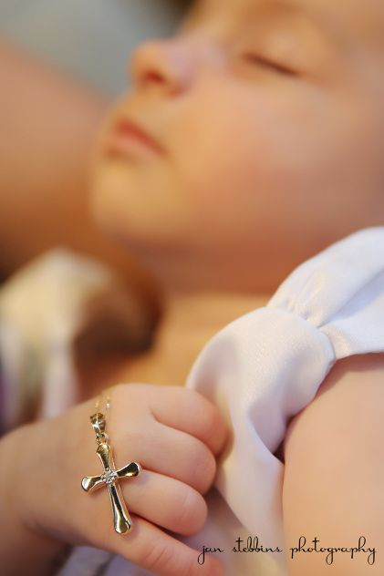 Baptism photography- baby girl holding cross