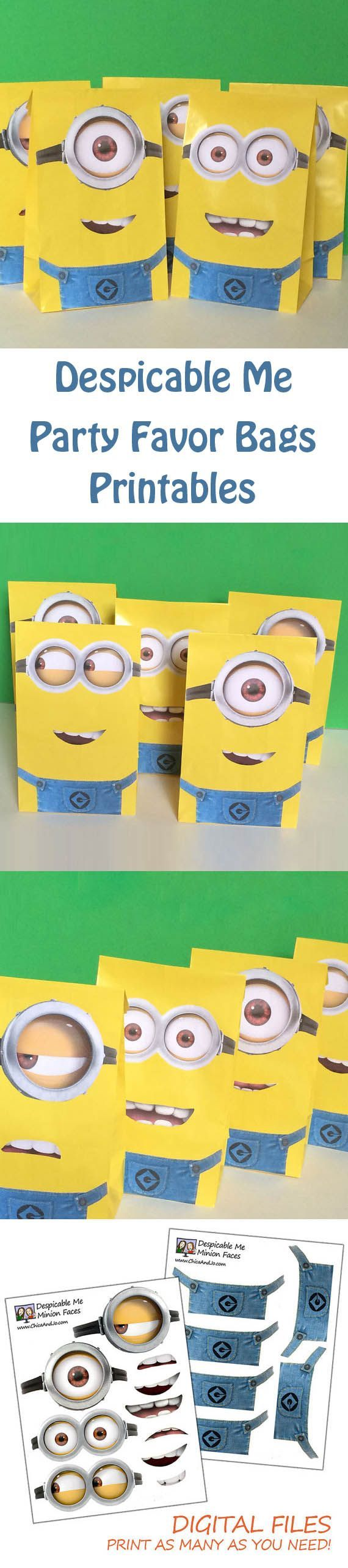 Planning a Despicable Me party? These Minion favor bag printables will wow kids and adults alike. Super simple to print and then mix up the different eyes and mouths for lots of Minion options. #despicableme #minions #kidparties
