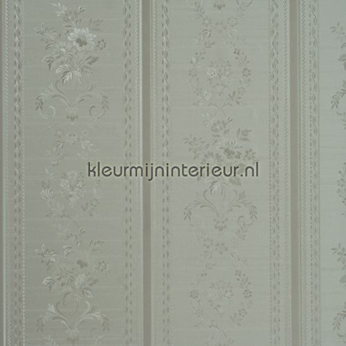 Glansvinyl streep met bloem behang 48727, Treasures van BN Wallcoverings