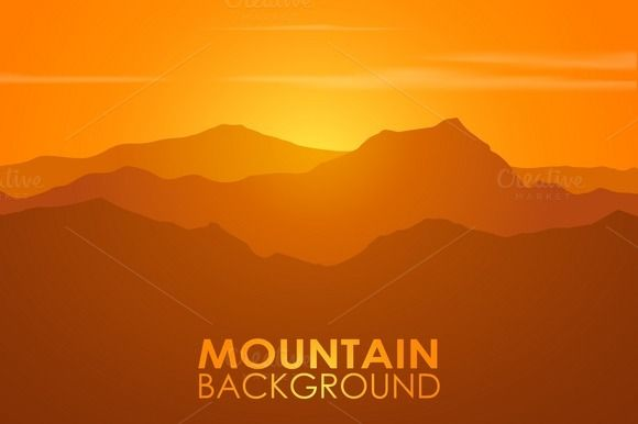 Mountain range over sunset. Vector. by M-S-A on Creative Market
