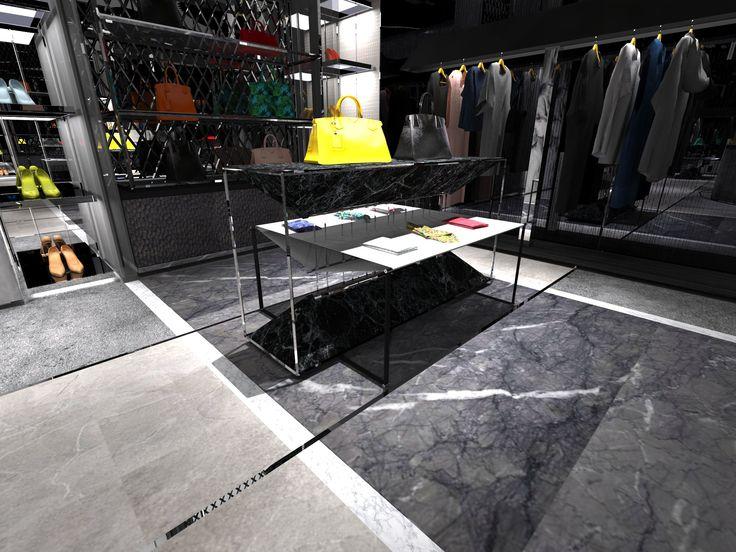 Realizacja : Projekt koncepcyjny sklepu odziezowego w Kuwejcie. Realization : Interior design concept store in Kuwait.  http://dekam.pl/projektowanie-i-wyposazenie-sklepow/showroom