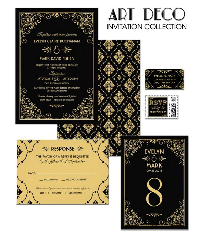 Black and Gold Wedding Invitations - Art Deco Wedding Style - Vintage Wedding