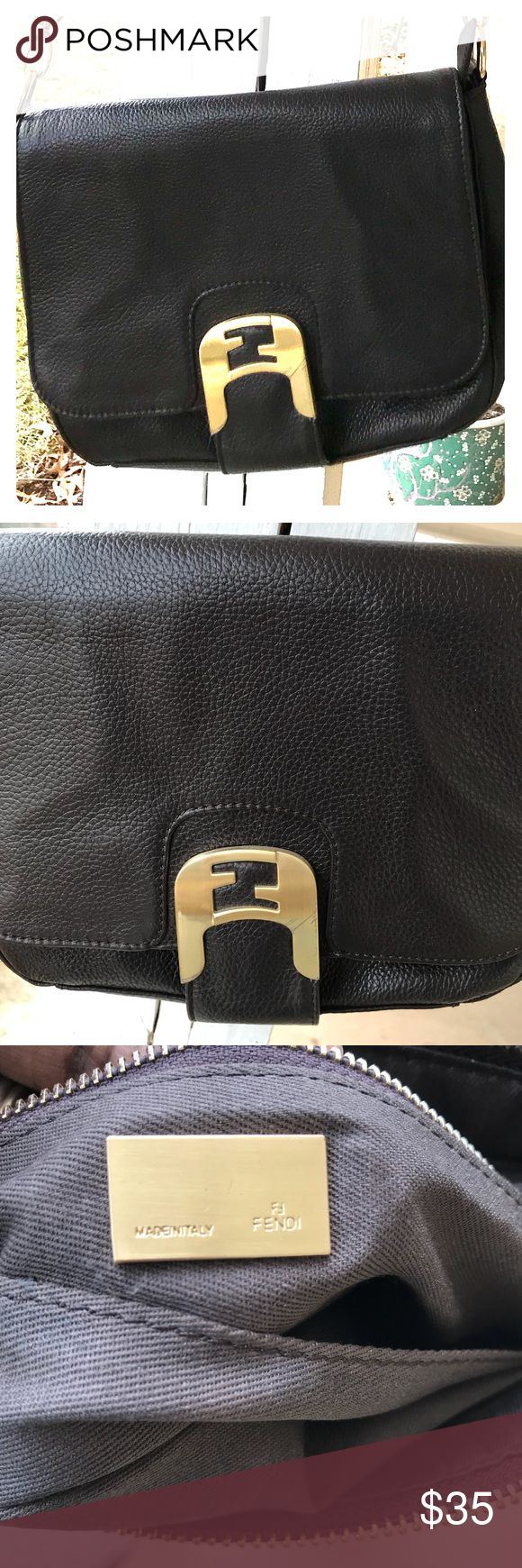 Fendi cross body Beautiful brown leather bag. Price reflects uncertainty of authenticity. Long adjustable strap. Fendi Bags