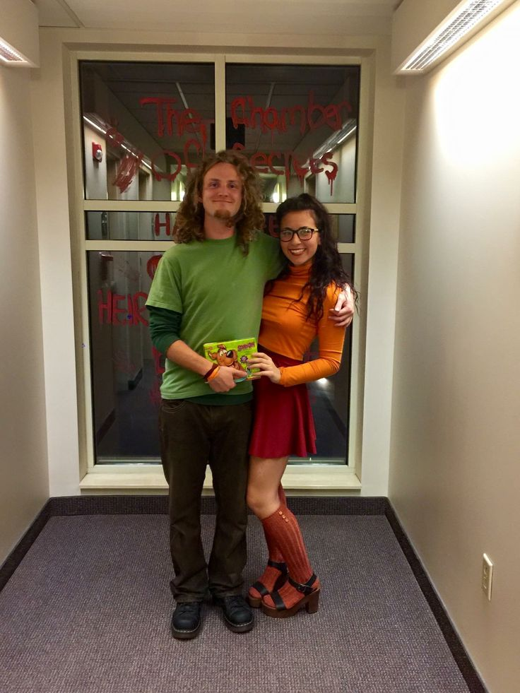 Couple Halloween costume.  Shaggy and Velma from scoobydoo!