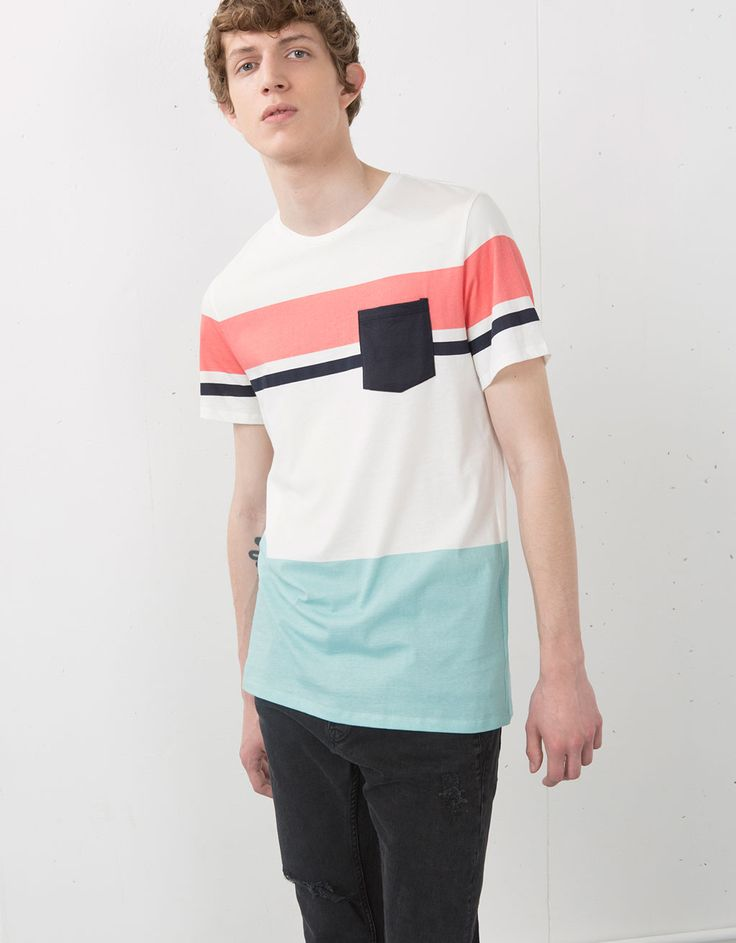 Camiseta rayas detalle bolsillo - Camisetas - Bershka Mexico