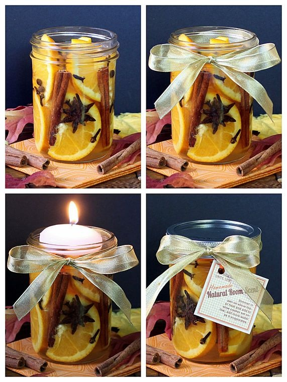 DIY Gift or Centerpiece: Natural Room Scent Jars (with printable tags). www.theyummylife.com/Scent_Jar_Gifts_and_Centerpieces