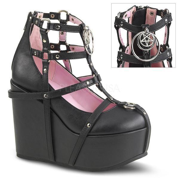 Pentagram Cage Boots (Poison 25-1) by Demonia  Gothic/Goth/Pentagram/Witch/Occult/Platform/Pastel Goth/Heels/Goth Girls