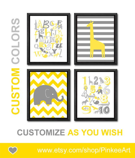 yellow grey alphabet nursery decor educational toddler decor safari numbers and letters abc playroom art elephant giraffe nursery animal abc by PinkeeArt, $29.00