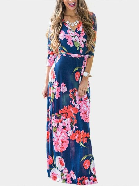 Blue Random Floral Print Cross Front Maxi Dresses with Belt