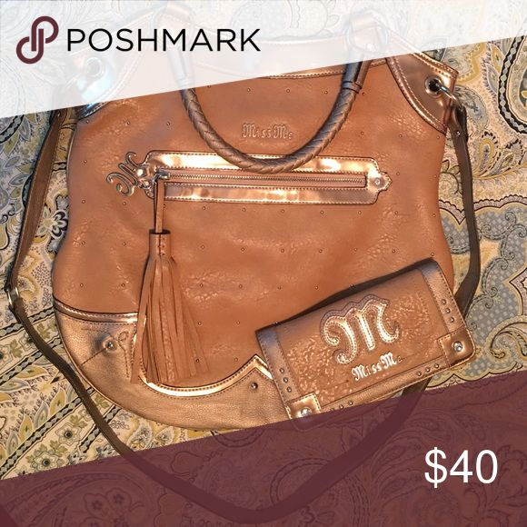 Miss Me Purse & Wallet Tan Miss Me purse with matching wallet. Great condition. Miss Me Bags Crossbody Bags