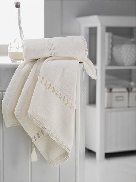 Banyo Havluları - Banyo Havlusu 70x140 El İşi Hera Krem