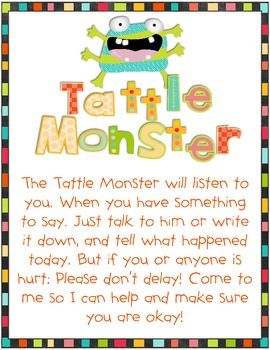 What a cute way to explain the difference between telling and tattling. Classroom management, monster, cute...