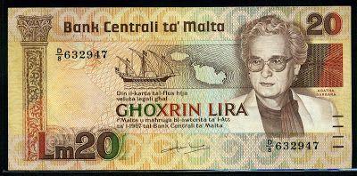 Malta currency Lm 20 Maltese lira banknote, Agatha Barbara, Central Bank of…