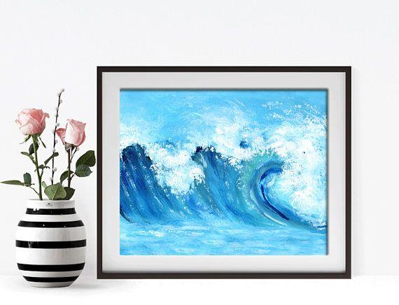 Ocean Painting Blue Ocean Wall Art Seascape Painting Ocean. Bathroom decor ideas.