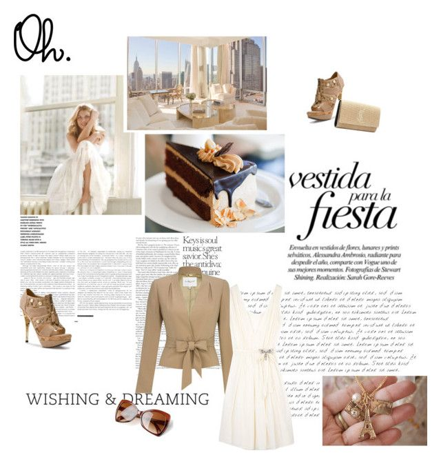 """""""wishing and dreaming"""" by techsports ❤ liked on Polyvore featuring DKNY, Antik Batik, Lovely People, Yves Saint Laurent, studded boots, cream, white, models, dress and text"""