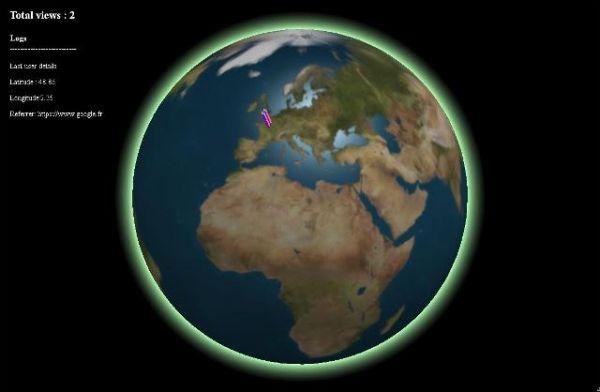 Un affichage de la localisation de vos visiteurs en 3D - RealtimeUsersWebgl-Globe  RealtimeUsersWebgl-Globe est une application permettant de montrer sur un globe terrestre en 3D la situation géographique des internautes.   http://noemiconcept.com/index.php/fr/departement-communication/news-departement-com/207016-webdesign-un-affichage-de-la-localisation-de-vos-visiteurs-en-3d-realtimeuserswebgl-globe.html