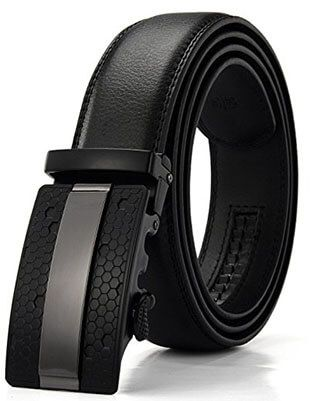 Xhtang Men's Solid Buckle Leather Belt