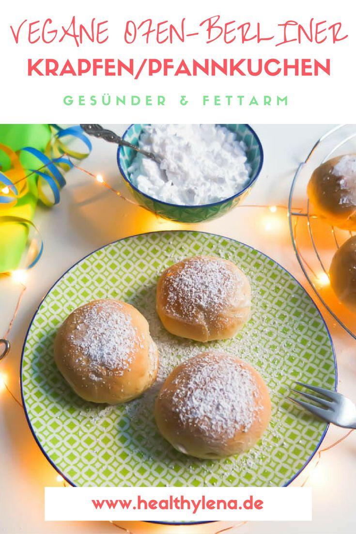Vegane Ofen-Berliner Krapfen Pfannkuchen fettarm gesünder pinterest