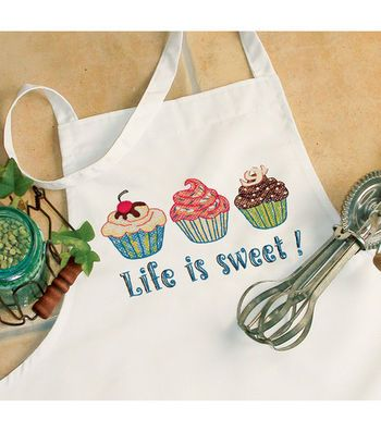 Dimensions Life Is Sweet Apron Stamped Cross Stitch-One Size Fits All