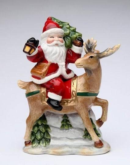 Santa and Reindeer Christmas Salt Pepper Shaker Set Holiday Figurines