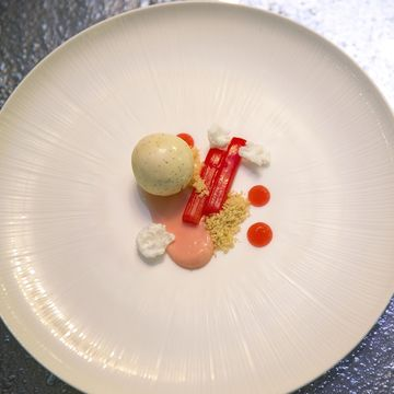 Ingredients  Rhubarb Purée    1kg Rhubarb (washed and chopped)  200g Caster sugar  50g grenadine     Cheesecake  190g Good quality cream cheese  57g Caster sugar  75g Rhubarb purée  1 Whole egg     Poached Yorkshire rhubarb  150g sugar  250g Young thin rhubarb  100g water  30g Grenadine (optional)     Sablé  400g unsalted butter  175g icing sugar  5g sea salt  100g Almonds (roasted and chopped)  500g flour