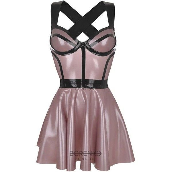 RITZ Latex Skater Cage Dress ❤ liked on Polyvore