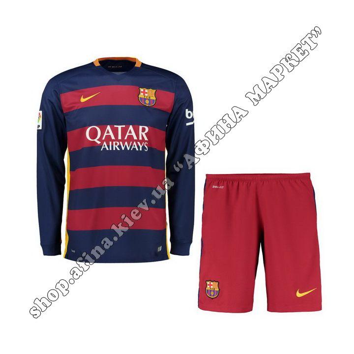 Футбольная форма Барселоны с длинным рукавом 2015-2016 Nike домашняя | Купить футбольную форму с длинным рукавом Barselona Home 15/16 Найк