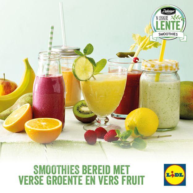 Verschillende smoothies met verse groente en vers fruit #Lente bij #Lidl