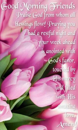 Praise God from whom all blessings flow! Praying you had a restful night and that your week ahead is anointed with God's favor, touched by His mercy, and filled with His amazing love! Amen