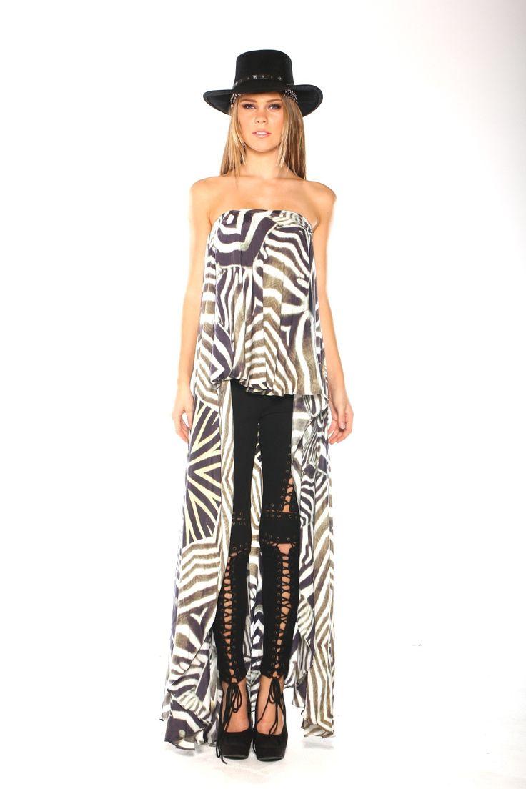 Parides Zebra Print Dress with Black and White Stripes - Zebra print dresses - Printed Dresses