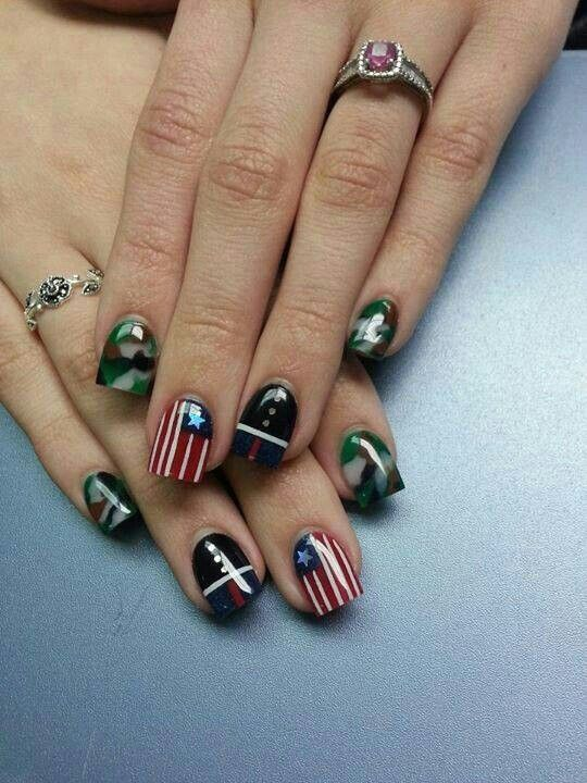 Military Nails!!just the dress blues on one nail and the flag on one on other hand, the rest navy