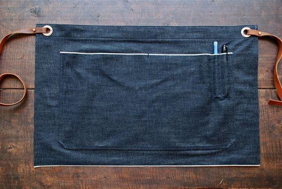 Delantal medio de dril de algodón del orillo / / por AmericanNative