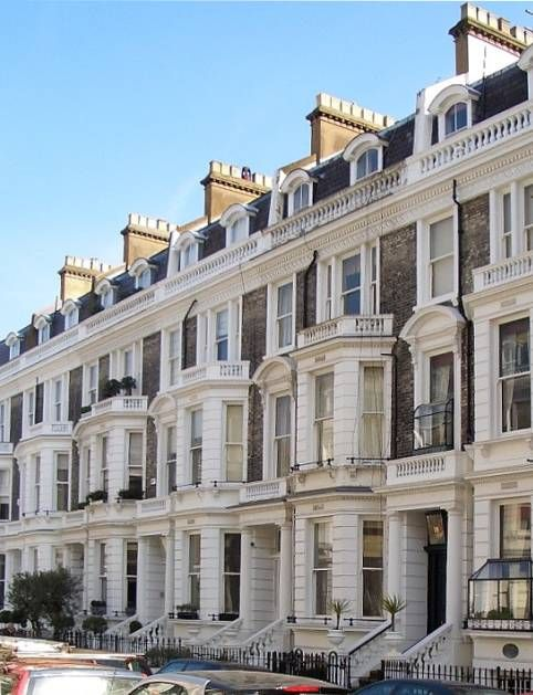 The chief interest of this smart mid-Victorian terrace built on the Phillimore Estate in Kensington is that it includes, at no. 18, the house leased by the Punch cartoonist Linley Sambourne, who lived there with his wife Marion from 1875 until his death in 1910.